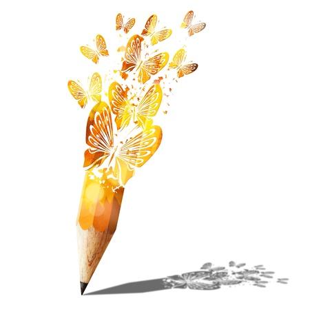 bleistift: Kunst Schmetterling gold Bleistift auf wei�em isoliert