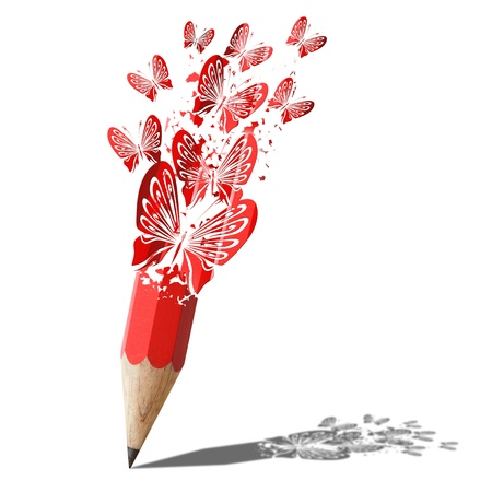 art of butterfly red pencil isolated on white Stock Photo