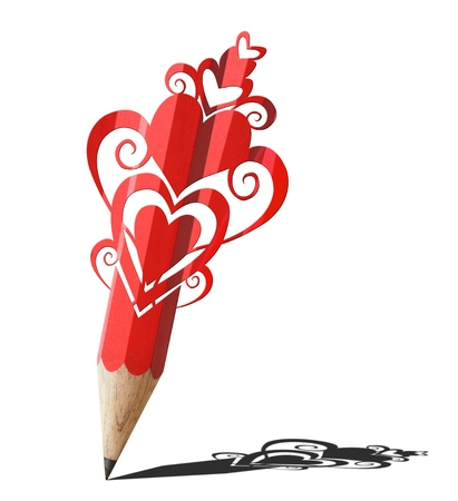 art of heart graphic  red pencil isolated on white photo