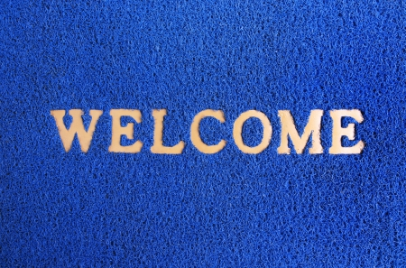 welcome mat: blue carpet welcome mat Stock Photo