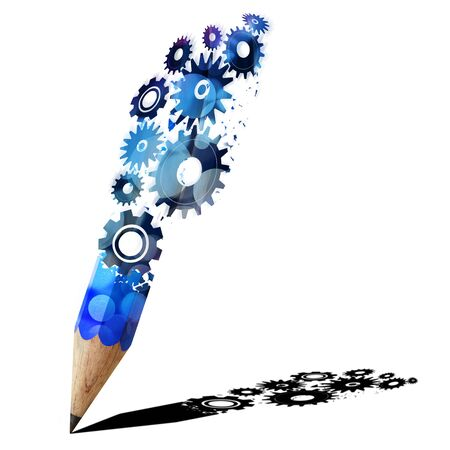Blue pencil creative with gears isolated on white background photo
