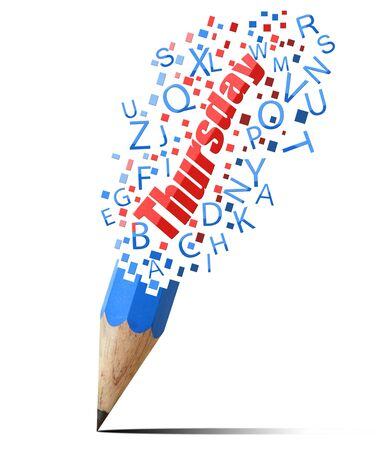 blue pencil with red Thursday isolate on white Stock Photo - 15962124