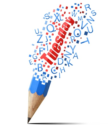 blue pencil with red tueday isolate on white Stock Photo - 15962120