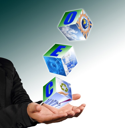 the future growth: Business man hand holding with recycle symbol image ,neture image and ceo alphabet