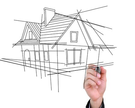 Businessman drawing house isolated on white background
