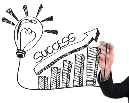 success concept: Businessman hand drawing light bulb with success concept isolated on white background