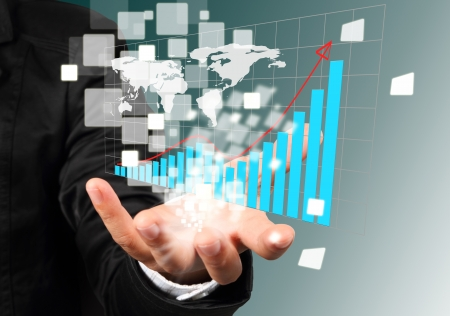 hightech: Businessman hand holding illustration graph successful concept
