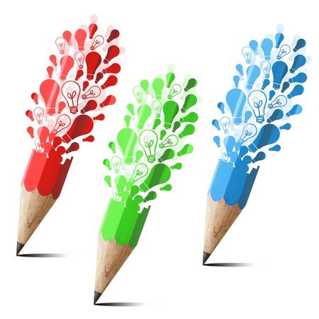 verzameling van creatieve potlood met lampvoet