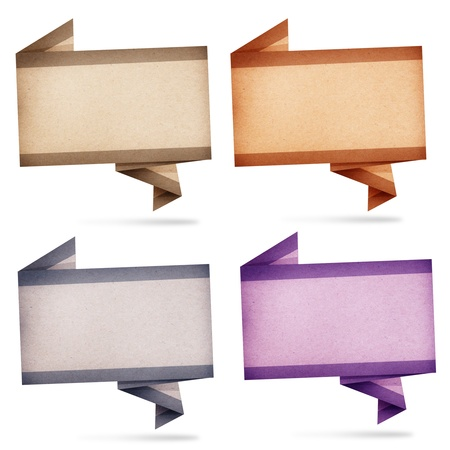 Collection of paper talk origami created by recycled paper craft isolate on white background photo