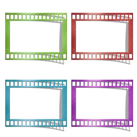 Color of film created by grunge paper cut isolate on white background photo