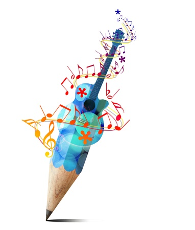 creative pencil with  blue acoustic guitar and music notes isolate on white photo