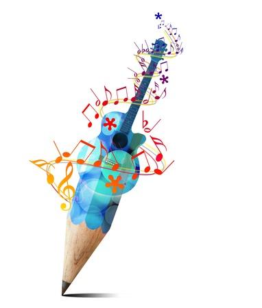note musicale: matita creativa con la chitarra acustica blu e note musicali isolato su bianco