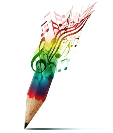 notes music: creative pencil with  music notes isolate on white