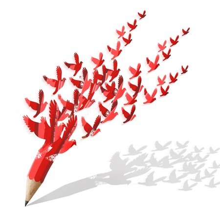 idea icon: creative pencil with birds image isolate on white
