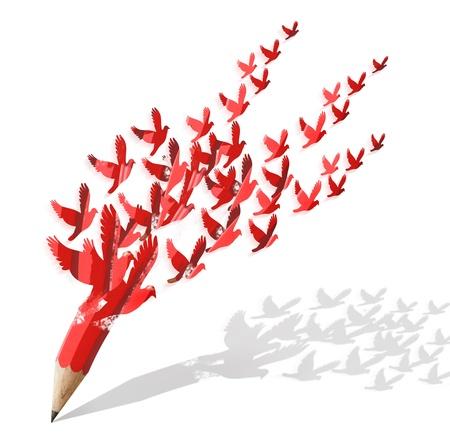 concepto: lápiz creativo con la imagen de las aves aislar en el blanco