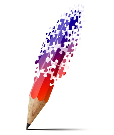 creative pencil with puzzles isolate on white photo