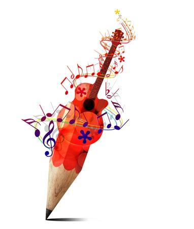 pictogrammes musique: crayon cr�atif avec la guitare acoustique rouge et des notes de musique isoler sur blanc Banque d'images