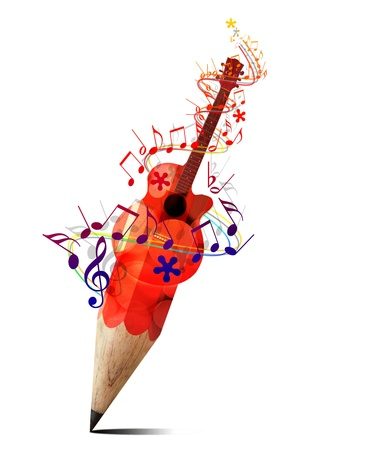 iconos de música: l�piz creativo con guitarra ac�stica roja y notas de la m�sica aislado en blanco Foto de archivo