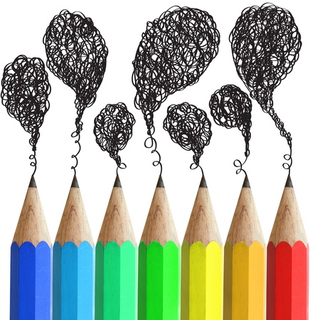 Creative pencils with abstract speech bubbles isolated on white background