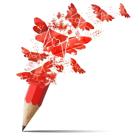 Creative red pencil spraying envelopes fly outdoor photo