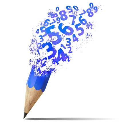 creation: creative splash pencil with blue number isolate on white