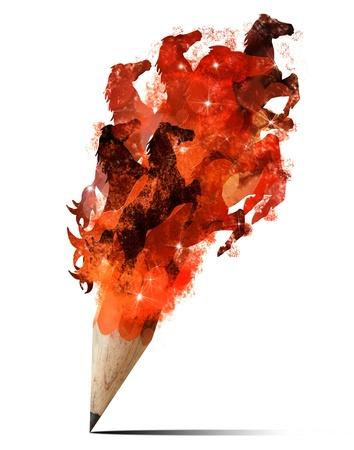 Creative splash pencil with horses image isolate on white background
