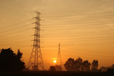 Electric power station on morning photo