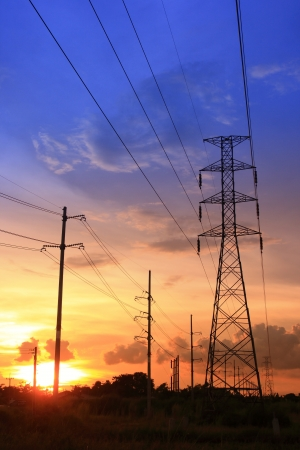 Electric power station on sunset Stock Photo - 15963616