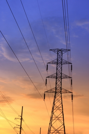Electric power station on sunset Stock Photo - 15963595