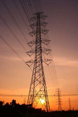 Electric power station on sunset photo