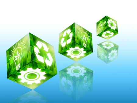 Green concept with cube image on blue background