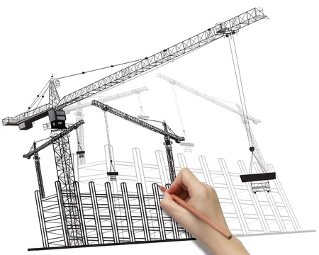 building construction: Hand drawing building development concept with cranes image isolated on white background Stock Photo