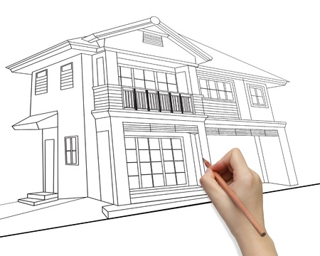 Hand drawing house model development concept isolated on white background photo