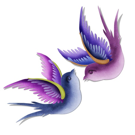 Imagination swallows created by paper craft isolated on white background photo
