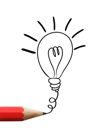 Red pencil drawing light bulb isolated on white Banco de Imagens