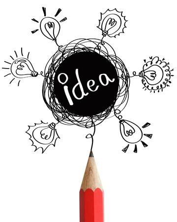 garabatos: Lápiz rojo con las burbujas del discurso abstracto y concepto bombillas idea aislada en el fondo blanco