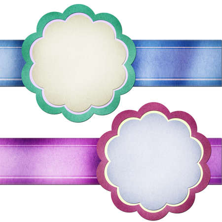 ribbon with paper stick icon created by grunge recycled paper craft on white background photo