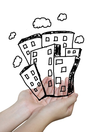 The real estate illustration on hand holding illustration