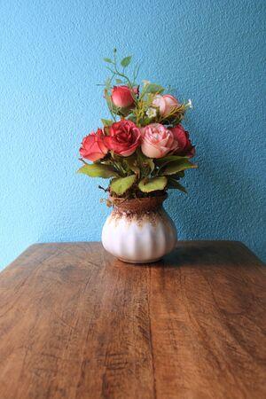 blue roses: Vase rose flowers handmade  Stock Photo