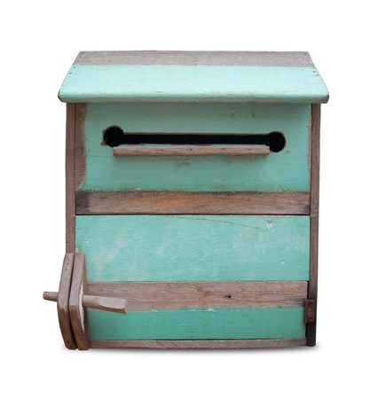 Vintage wooden mailbox isolate on white background photo
