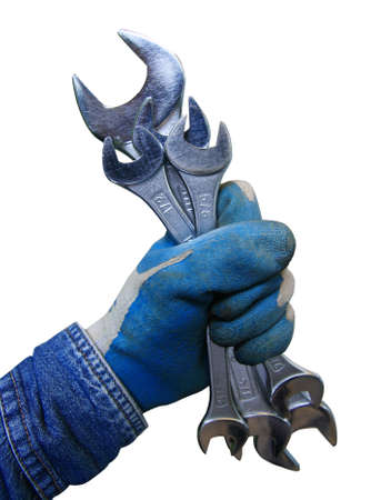 appropriate: Wrench in hand workers isolate on white