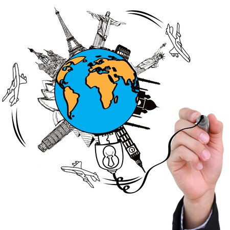 pise: Businessman hand drawing travel the world monument concept Stock Photo