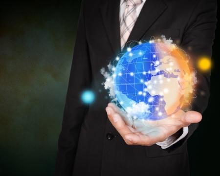 efectos especiales: Día y noche planeta concepto de sistema en mano negocios