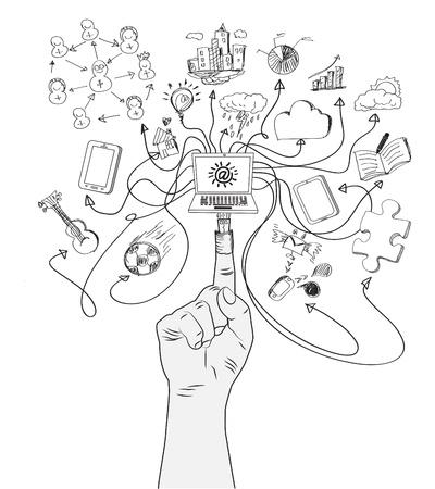 relaciones humanas: Figura enchufe USB se conecta un ordenador con iconos de medios sociales