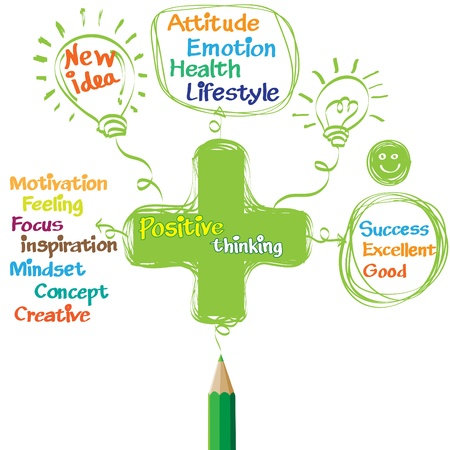 optimism: Green pencil drawing positive thinking Illustration
