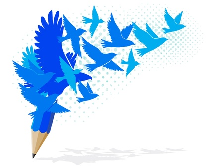 Abstract blue pencil with birds image