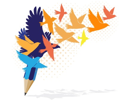 Abstract colorful pencil with birds image