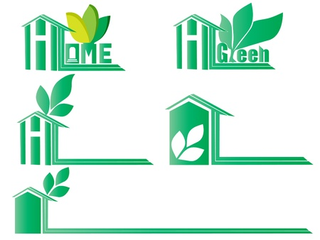 Green Home icons set Illustration