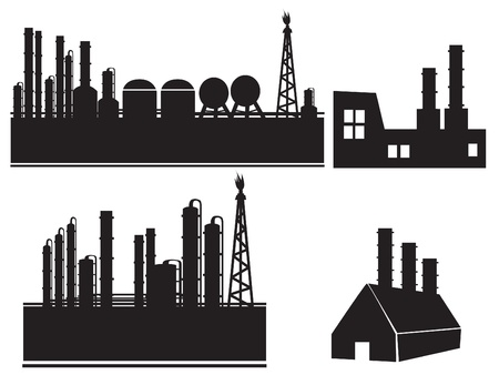 refinery: Industrial building factory icon set Illustration