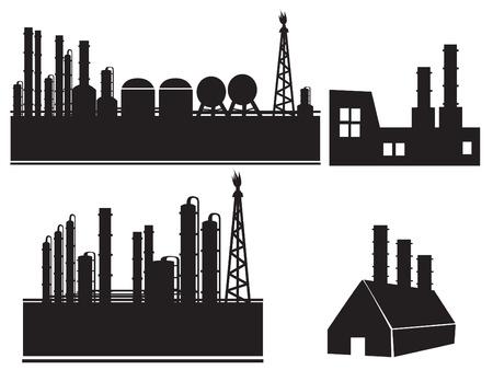 bedrijfshal: Industrieel fabrieksgebouw icon set Stock Illustratie